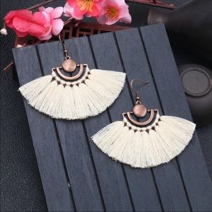 Jewelry - Ivory Tassel Bohemian Earrings copper metal NEW